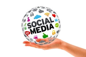 Hand holding a Social Media 3d Sphere